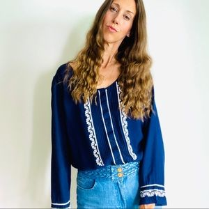 Navy + White Embroidered Blouse.
